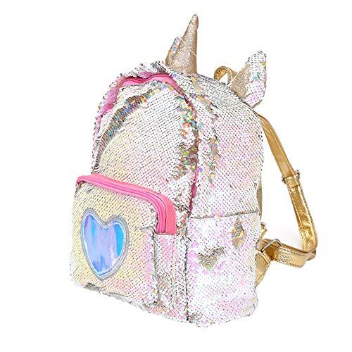 Oyria niedlichen Cartoon Einhorn Pailletten Rucksack Glitter Bling Rucksack PU Leder glänzende Kinder Mädchen Reisen kleine Schultasche - Gold