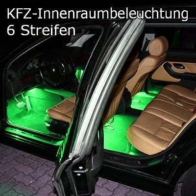 6er Set RGB LED KFZ Innenraumbeleuchtung Fussraumbeleuchtung komplett mit Anschlußkabel, Controller und Fernbedienung 6 Streifen Strips Auto 12V von SN-Import GmbH auf Lampenhans.de