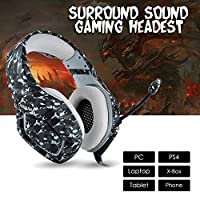 Onikuma PC Gaming Headset for PS4 XBOX One, 3.5mm Stereo Headphones with Omnidirectional Microphone, Volume Control for Computer Laptop Mac PlayStation 4 (Black)