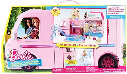 Barbie FBR34 - Super Abenteuer Camper, Puppen Camping Wohnwagen mit Zubehör, Mädchen Spielzeug ab 3 Jahren - 7