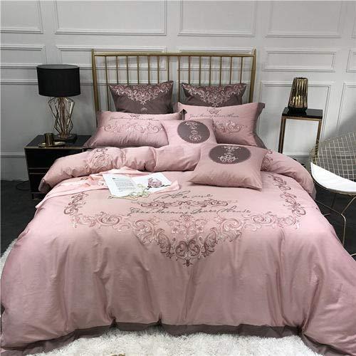 RONGXIE Stickerei Ägyptischer Baumwolle Bettwäsche Set Königin King Size Bett Set Bettbezug Bettlaken Set Kissenbezüge 4 Stücke