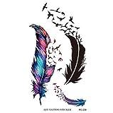 STRASS ET PAILLETTES - Mini Tatouages éphémères plume et oiseau noir et couleur waterproof - Tatoo temporaire - Bijou de peau oiseaux et plume