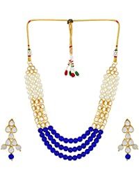 Shining Diva Jewelry Kundan Pearl Stylish Fancy Party Wear Necklace For Women Traditional Jewellery Set With Earrings...