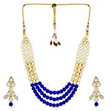 Shining Diva Jewelry Kundan Pearl Stylish Fancy Party Wear Necklace for Women Traditional Jewellery Set with Earrings for Women & Girls(Blue)(8592s)