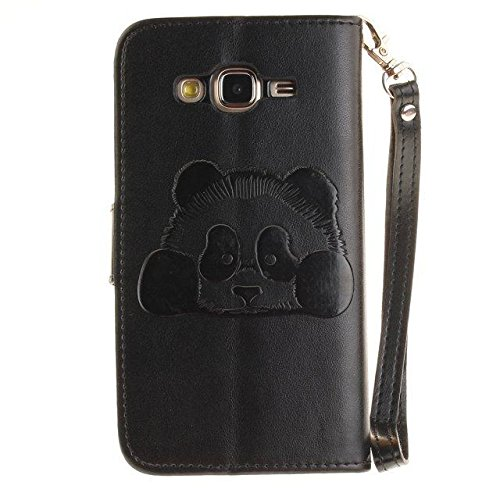 Etsue Custodia Per Samsung Galaxy J5 2015 in Pelle,Sollievo Colorate Dipinto Modello Ultra Sottile Leather Pu Bianca Flip Wallet Case Cover,Morbida Flessible Slim Portafoglio Libro AntiGraffio Protett Panda/Nero