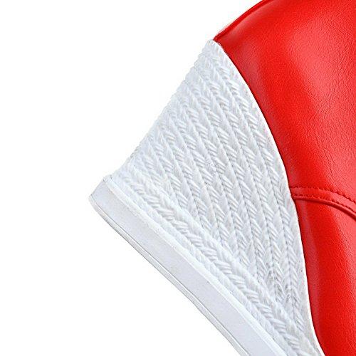 VogueZone009 Femme à Talon Haut Couleur Unie Rond Matière Souple Lacet Bottes Rouge