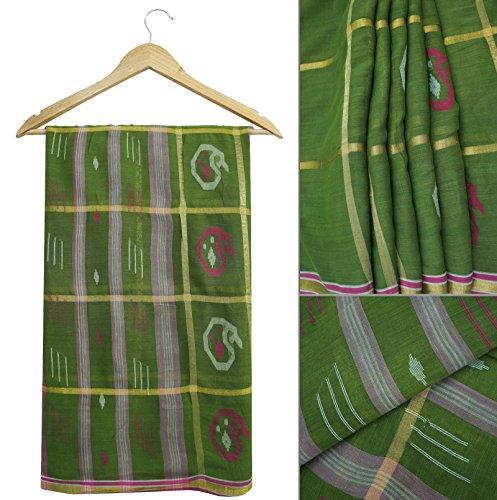 Jahrgang-Indien Saree 100% reine Baumwollgrün-Paisley druckte Sari Fertigkeit-Gewebe 5YD
