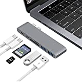 USB C Hub Moffo 7-IN-1 USB-C Hub Type-C Adapter mit Thunderbolt 3 USB-C port,Standard USB-C port,USB 3.0 Type-A port x 2,TF card slot,SD card slot,,USB 3.1 Type-C connector für 2016/2017 MacBook Pro 13´´ und 15´´Grau
