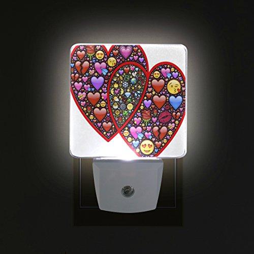 Ahomy - confezione da 2 luci led notturne a forma di cuore per san valentino, a risparmio energetico, con sensore dal tramonto all'alba