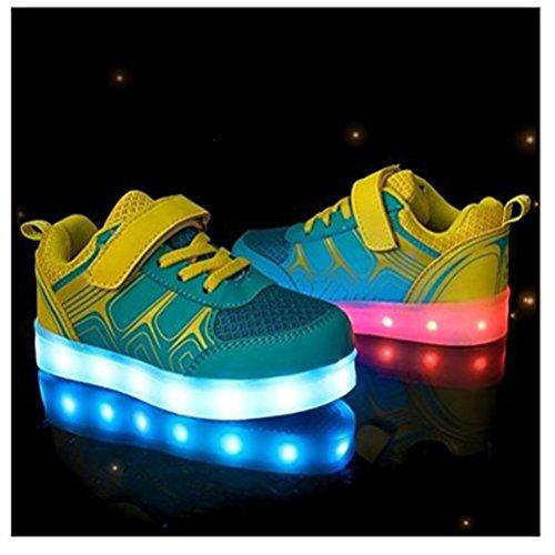 [Present:kleines Handtuch]JUNGLEST® Kinder Jungen M?dchen Bunte LED Leuchtet Sportschuhe Sneakers Athletische S Blau