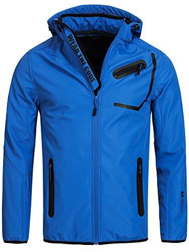 INDICODE Herren Jacke Softshelljacke Windbreaker Wetterschutzjacke Funktionsjacke mit Kapuze Winterjacke Regenjacke 50-062 S M L XL XXL Blau