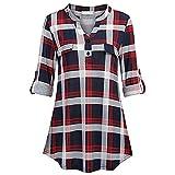 Longra Damen 3/4 Ärmel Karierte Bluse Langarm T-Shirt Klassisch Kariert Hemd Bluse Plaid Shirts V-Ausschnitt Karohemd Casual Oberteile Tunika Tops (S, Rot)
