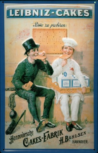 Blechschild Nostalgieschild Leibniz Cakes Kekse Schornsteinfeger Bäcker Schild nostalgie Werbung