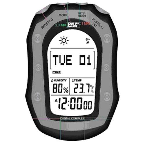 Pyle PSHWM22BK Wetterstation mit Wettervorhersage, 58 Weltzeit, Temp, Höhenmesser, Barometer, Kompass (Schwarz)