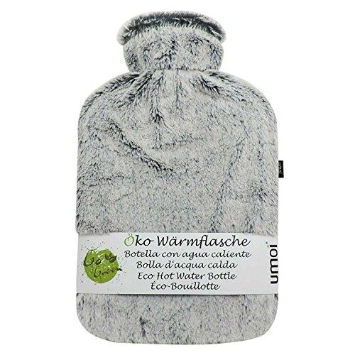 UMOI Öko Wärmflasche 2 Liter mit hochwertigem MINK Fleece Bezug BS1970:2012 zertifiziert Modell 2018 (Grau)
