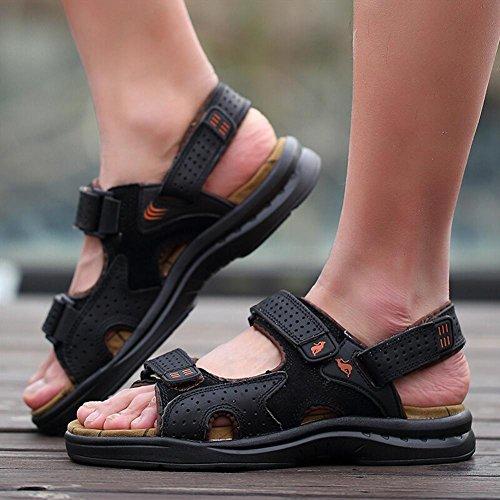Herren Ledersandalen bequem zu tragen langlebig und rutschfeste Strand Sandalen Sommer Sport waten Schuhe hl1215 dark brown