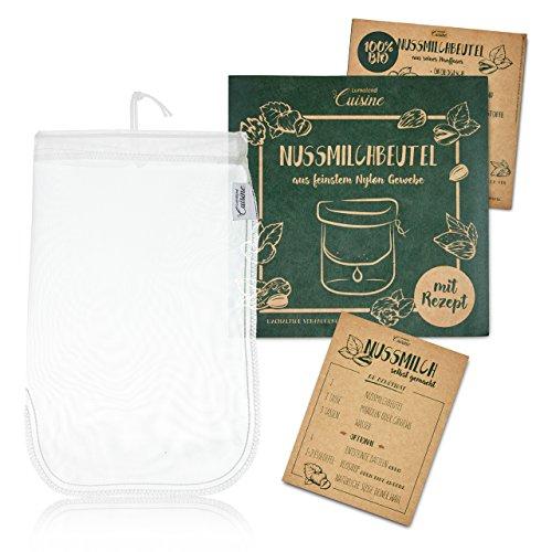 Lumaland Cuisine Nussmilchbeutel aus reinen Nylon Fasern für vegane Nussmilchherstellung inklusive Mandelmilch Rezept in nachhaltiger Verpackung Mandelmilch selber Machen Perfekter Milchersatz