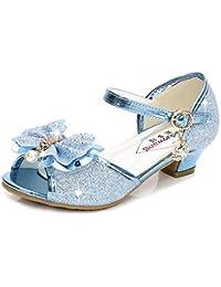 a4322f2da913d Eleasica Fille Haute Qualité Chaussures de Princesse Elsa Cendrillon Paillettes  Sandales Argenté Bleu Doux Halloween Noël