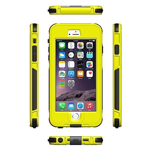 wkae Schutzhülle Case & Cover für iPhone 6Plus & 6splus ABS Material wasserdichte Schutzhülle mit Knopf & fingerprintunlock & Touchscreen Funktion Yellow