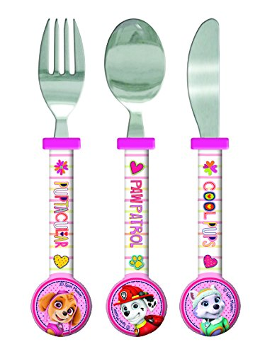 Paw Patrol Girls Cutlery Set, 3 piece, Knife/Fork/Spoon, Pink