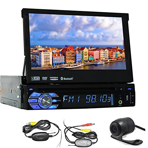 Stereo-Auto-Radio-Autoradio-GPS-Carte-antenne-Headunit-Lecteur-DVD-Electronics-CD-Car-Automotive-Parts-Tlchargement-MP3-De-Pont-Voiture-Video-Multimedia-1-din-au-tableau-de-bord--cran-tactile-7-Camra-