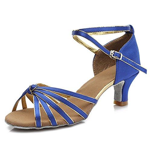 HIPPOSEUS Damen & Mädchen Sandalen Ausgestelltes Tanzschuhe/Ballsaal Standard Satin Latein Dance Schuhe,DE217-5,Blau,EU 39