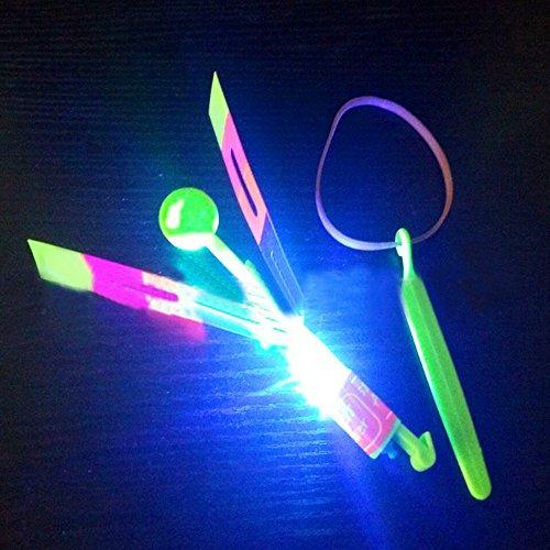 12shage Erstaunlich Pfeil Rakete Copters LED Licht Hubschrauber Fliegen Spielzeug - Elastic Powered Sling Shot Heli Schleuder Pfeile Flare Copter -