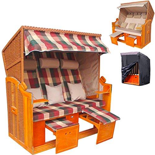 Großer XXL Strandkorb 'Sylt' 3-Sitzer Beige + Wechselbezug gratis + GRATIS Robuste Schutzhülle gegen Regen & Schmutz
