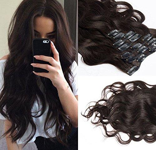SHINING STYLE Body Wave Clip In Extensions Echthaar Gewellt Haarverlängerung Set - 8 Haarteile - 120g - 40 cm - Haarfarbe: Dunkelbraun #2