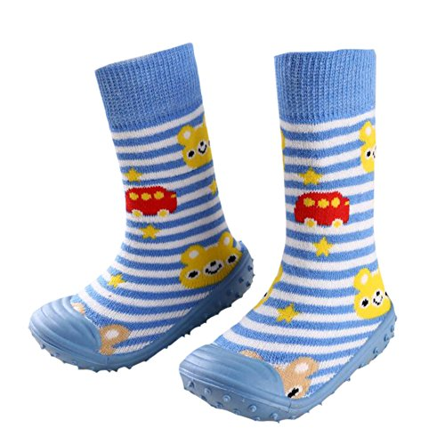 Säugling Baby Karikatur Gemustert weich Gummi Boden Anti-Rutsch Stiefel Aqua-Socke Blue Stripes