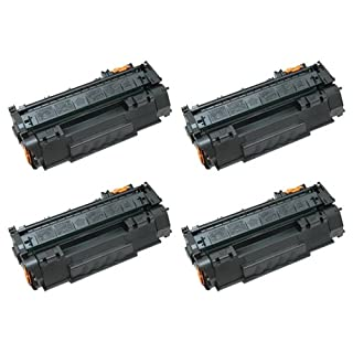 Amsahr 330-1198 High Yield Remanufactured Replacement Dell Toner Cartridge with Chip for Select Printers/Faxes - 4 Pack, Black