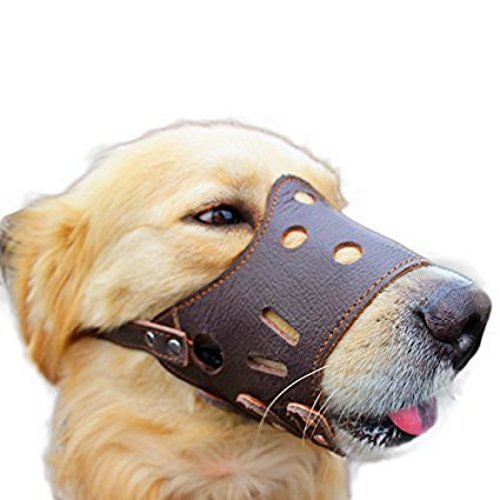 Dog Muzzle Adjustable Leather for Small, Medium, Large, Extra Large to...