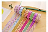 #4: CraftDev Colourful Decorative Adhesive Glitter Tape Rolls, Length 3m Each, Set of 10 (Designs As Per Availability)