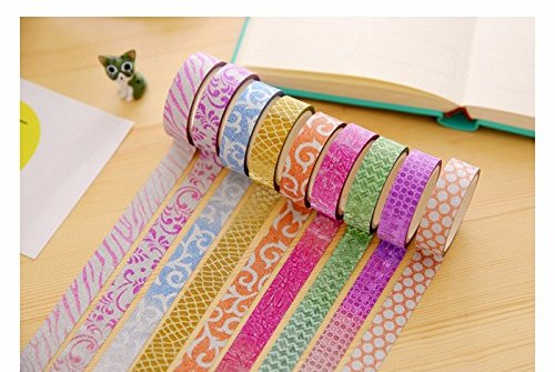 CraftDev Colourful Decorative Adhesive Glitter Tape Rolls, Length 3m Each, Set of 10 (Designs As Per Availability)