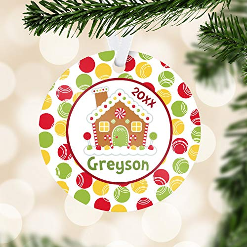 C-US-lmf379581 Gingerbread House Ornament Red Holiday Ornament Gingerbread Christmas Name Personalized Ornament You Pick Image Kids Personalized Gift -