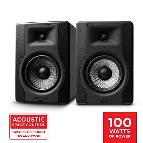M-Audio BX5 D3 Pair - Kompakte 2-Wege 5-Zoll Studiomonitore / Lautschprecher, aktiv, für Musikproduktion oder Mixen, mit integrierter akustischer Raumsteuerung