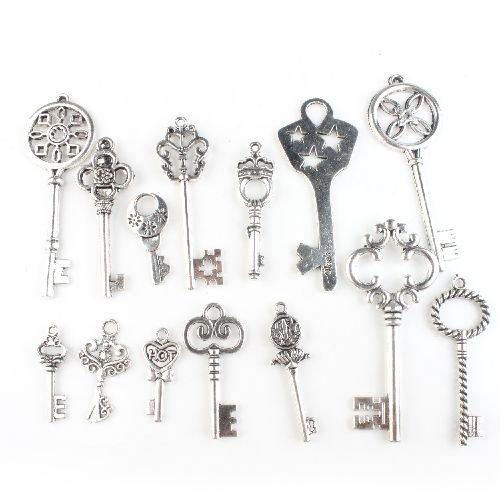 14 Stück Vintage Antike Silber DIY Schmuckzubehör Basteln Charms Anhänger Perlen für Halskette Armband
