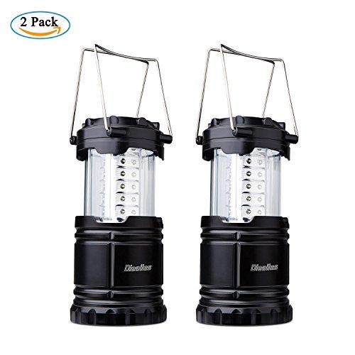 Preisvergleich Produktbild LED Camping Laterne,Diealles 2 Stück LED Campinglampe Faltbar 30 LEDs,Batteriebetrieb,Wasserdicht, Außenleuchte für Wandern, Camping, Notfall, Angeln, Nachtlicht,Einfache Ein / Aus