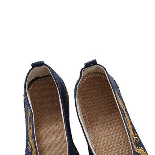 Meijunter Hommes Dragon Slip-on Bateau chaussures Chaussures plates en lin Chaussures chinoises Chaussons Bleu