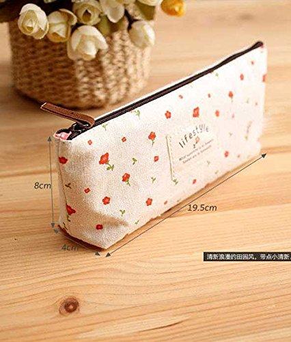 NO:1 4 Stück Unterschiedliche Farb pastoralen Stil Segeltuch Streifen Kosmetiktäschchen Kosmetiktaschen Bleistift Beutel Taschen Federbeutel