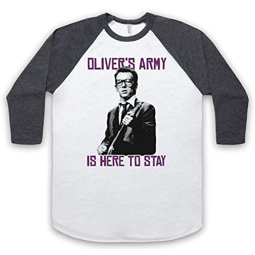 Inspiriert durch Elvis Costello Oliver's Army Inoffiziell 3/4 Hulse Retro Baseball T-Shirt Weis & Dunkelgrau