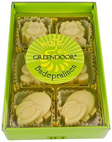 Greendoor Badepralinen süße Tierfiguren - 6er Karton, nach Honigmilch duftend, für 6 pflegende Cremebäder, mit BIO Kakaobutter, handgefertigte Naturkosmetik, kleines Geschenk, Pflegebad, Badezusatz