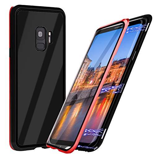 Samsung S9 Hülle Magnetisch, Qianyou Magnetic Adsorption Glas Handyhülle mit Metallrahmen Transparent 9H Vorne und Hinten Schutzfolie [Unterstützt Kabellose Aufladen] für Galaxy S9,Rot+Schwarz -