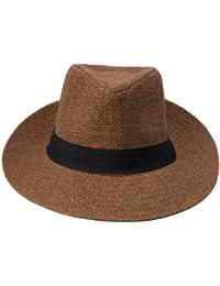 Y-BOA Chapeau Panama Fedora Trilby Western Jazz En Paille Tressé Plage Pêche