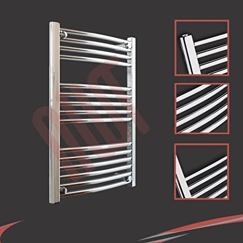 600mm (w) x 800mm (h) Curved Chrome Towel Rail, Horizontal