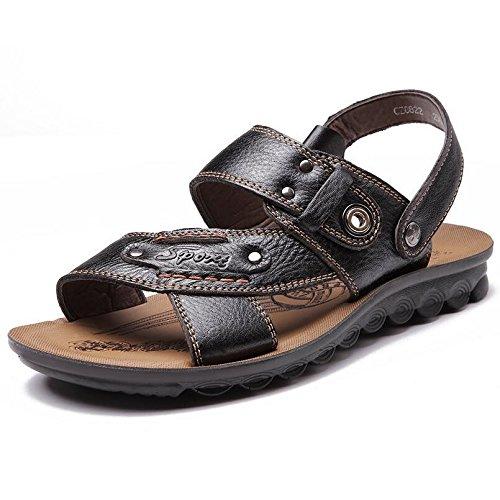 SU@DA Les chaussons de garçons 2016 été nouveau/hommes/casual sandales/Chaussures/cuir/plage Black