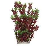 SODIAL (R) 40cm Pianta di plastica foglie verde rosse ornamento per Acquario