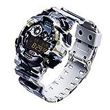SANDA Herren Camouflage Sportuhr Wasserdicht Multifunktion Elektronisch Uhren LED Beleuchtung Timer Wecker Armbanduhr(Grau)