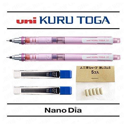 Uni Ball Kuru Toga 0.7mm-autoaffilanti portamine-Pink Barrel-Confezione da 2+ 24free Leads and 5free gomme