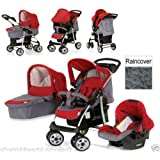 New Hauck shopper Trio Travel System pushchair+Carrycot+Carseat+Raincover in Smoke/Tango (RED/GREY)
